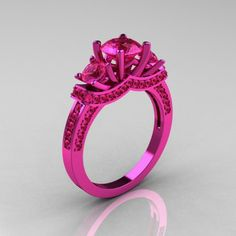 French 14K Pink Gold Three Stone Pink Sapphire Wedding Ring Engagement Ring R182-14KPGPS - Perspective