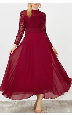 Gamiss Lace Panel Chiffon Ruffled Maxi Dress via Red Long Sleeve Gown, Long Sleeve Evening Dresses, Chiffon Evening Dresses, Chiffon Dress Long, Chiffon Ruffle, Lace Maxi, Best Maxi Dresses, Sexy Dresses, Red Ruffle Dress