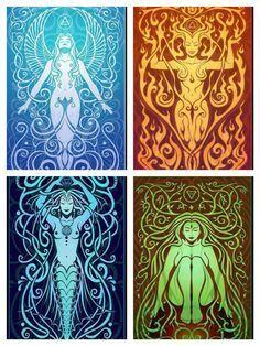 Goddess Ignis, Goddess Aqua, Goddess Terra, Goddess Ventus: Ancient Ones, Main Religion of Arros and Monslea