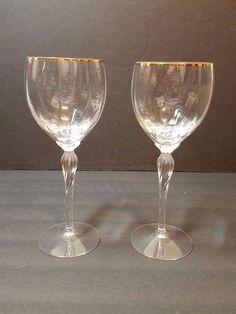 "Lot of 2 Vintage Lenox Crystal Wine Glass Monroe Gold Trim 7 3/4"" Wine Goblet #Lenox"