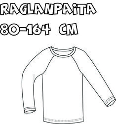 Lasten raglanpaita Knitting Patterns, Sewing Patterns, Sewing Ideas, Raglan Shirts, Knit Crochet, Barbie, Dresses, Fashion, Tunics