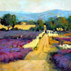 Return to the Lavender Field by Trisha Adams, Oil, 36 x 36 Selling Paintings, Paintings I Love, Oil Paintings, Landscape Art, Landscape Paintings, Landscape Glass, Landscape Architecture, Lavender Fields, Lavender Roses