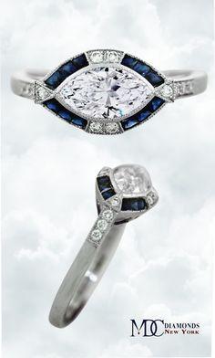Horizontal Marquise Diamond Art Deco Engagement Ring