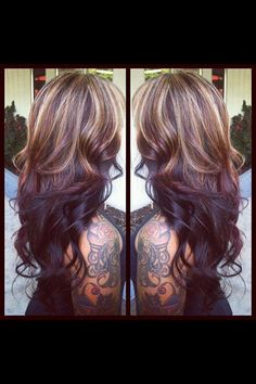 Blonde highlights on top of layered chocolate brown hair. This would be cool when my hair gets longer! Love Hair, Great Hair, Gorgeous Hair, Awesome Hair, Coiffure Hair, Look 2015, Hair Color And Cut, Blonde Highlights, Color Highlights