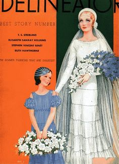 """Bridal fashions, Delineator magazine, June 1933. The bride wears """"a wedding dress of white satin ribbon, created by Worth. The ribbon is put together with faggoting. A voluminous tulle veil is held by a ruche at the nape of the neck and a roll of tulle over the head. The bride carries white roses and blue larkspur. Her small attendant wears a frock of blue satin ribbon with short puff sleeves and a braided ribbon belt. Her cap is also ribbon."""""""