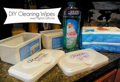 DIY Cleaning Wipes - by pouring a cleaning agent (mr clean, lysol, blah blah blah) over the wipes and letting them absorb. Then use as regular cleaning wipes :) www.MightyCrafty.me
