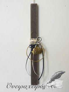 Αρωματική λαμπάδα σε γκρι απόχρωση με χειροποίητο στεφάνι με καράβι Diy And Crafts, Bracelets, Leather, Jewelry, Jewlery, Jewerly, Schmuck, Jewels, Jewelery