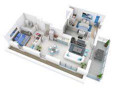 plan de maison 2 pièces en 3D