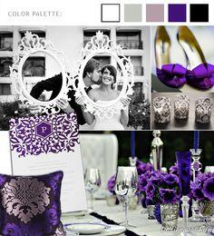 Purple, black and white wedding