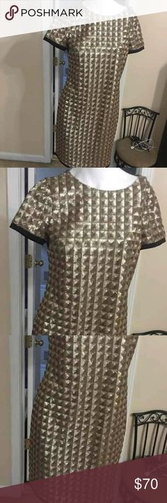 Gold & Black Ted baker size 2 dress. Stylish! EUC Ted Baker London size 2 (Ted sizing)  gold and black textured dress. Gorgeous and in excellent condition. Worn once to an engagement party. Comes from a smoke and pet free home. Ready to ship! Retails for $358. Ted Baker London Dresses