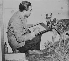 Walt Disney sketches a pair of fawn during the production of Bambi in 1942 Disney Magic, Disney Amor, Disney Pixar, Retro Disney, Vintage Disney, Disney Love, Disney Couples, Disney Stuff, Disney Animation