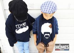 "HIPSTERS | Super funky cousins hanging out with their MÔMES tees!! Petit Dylan {LEFT} is rocking  MÔMES ""Claude"" tee & Éthan {RIGHT} has our ""Afi"" tee on!! Don't they look super cool #cool#cute#organic#tees#tshirts#boys#boysstyle#kids#kidsstyle#fashion#shopcutekidsfashion#australian#sydney#french#hipster#hipsterkids#kidsfashion#unique#handcrafted#fashionkids#postmyfashionkid#funky#momes#moustache#instatoddler#streetfashion#ikfashion#fashionkids#cousins#friends#bff"