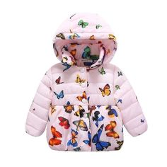 BPrincess Baby Girls Star Print Quilted Fleece Lined Cotton Filled Hooded Jacket