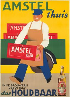 Artist: JAN WIJGA business since Amstel is one of the better known names in Dutch beers. Posters Vintage, Vintage Advertising Posters, Art Deco Posters, Cool Posters, Vintage Advertisements, Vintage Ads, Beer Poster, Poster Ads, Sous Bock