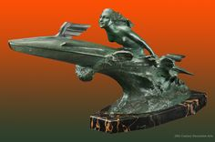 "A dynamic Art Deco bronze ""Sport Nautique (the Rocket Girl)"" by Frédéric Charles Focht, France circa 1930."
