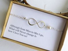 Miss to Mrs Infinity Bracelet With Gift by tinycottagetreasures, $28.25