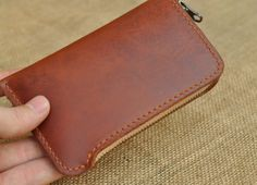 iPhone4 and iPhone5 cases, Leather  iPhone wallet-zipper case- Hand Stitched  iPhone4/iPhone4s Cover Case on Etsy, $36.00