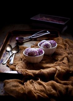 Honey-Thyme & Blackberry–Goat Cheese Swirl Ice Cream by carey nershi