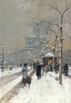 Figures in the Snow, Paris - Eugene Galien-Laloue Impressionism