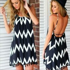 Black and White Open Back Mini Dress Chiffon Sleeveless Open Back Short Mini Dress.   *** MIGHT NOT BE AS LONG ON YOU AS ON THE MODEL ***  These are NWOT Retail. Price Firm Unless Bundled. Measurements available upon request Dresses Mini