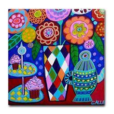 Kitchen Tile  Kitchen Art  Ceramic Teapot Tile by HeatherGallerArt, $20.00