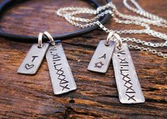 His and Her Jewelry Personalized Matching by OrganicRustCreation, $88.00