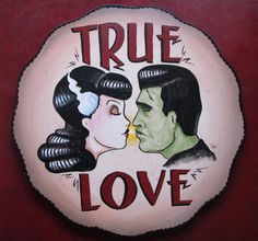 Frankenstein and Bride True Love Art by rocanrol on Etsy, $150.00