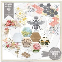 Honeycomb pieces kit from Rhonna Designs with a crowned queen bee. If you go to the blog, Polkadot Chair, you'll see how she used this to make a beautiful printed fabric to use for a pillow.