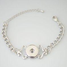 "1 Chain Bracelet - 7.5"" FITS 18MM Candy Snap Charm Jewelry Silver KB0213 CJ0084"