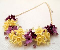 Vanilla  #Flower #necklace  #Spring jewelry  Lavender by insoujewelry