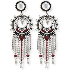 Dannijo Vitula Crystal Fringe Drop Earrings ($260) ❤ liked on Polyvore featuring…