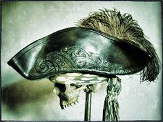 Black Leather Pirate Tricorn Hat with Vintage by pirateswife, £160.00