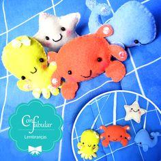 Móbile bichinhos do mar: baleia, caranguejo, polvo e estrela do mar em feltro.