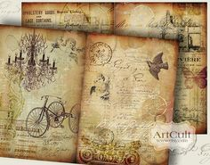 AGED STORYBOARD No1  Four Designed Backgrounds  Digital by ArtCult, $4.99