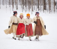Copyright-Laila-Duran.-L-4  Folk costumes in Leksand, Dalarnas Lan (central Sweden)- the women wear short shearling jackets with shearling skirts, the men have long shearling coats- beautiful and practical.