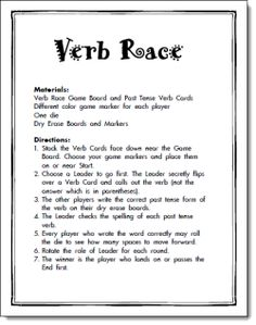 Verb Race Game Freebie from L. Candler. Make your own stack of verb cards…