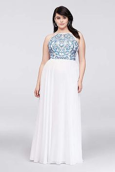 9da0ca03534 View Long Xscape Dress at David s Bridal Blue Plus Size Dresses
