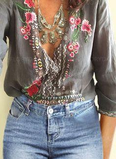 Floral Casual Polyester V-Neckline 3/4 Sleeves Blouses - Floryday
