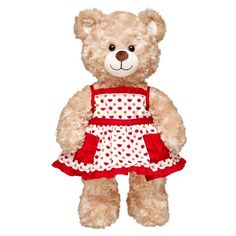 Autumn is for apple picking! Your furry friend will look plum pretty in this white dress with red pockets and trim. The sleeveless dress sports a cute apple and bear print. Teddy Bear Clothes, Pet Clothes, Doll Clothes, National Teddy Bear Day, Build A Bear Outfits, Apple Dress, Bear Valentines, Art Drawings For Kids, Cute Stuffed Animals