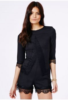 Missguided - Catherina Lace Detail Playsuit In Black