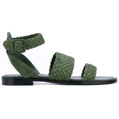 Paul Andrew 'Alma' sandals ($595) ❤ liked on Polyvore featuring shoes, sandals, green, real leather shoes, leather sandals, leather shoes, green sandals and green leather shoes