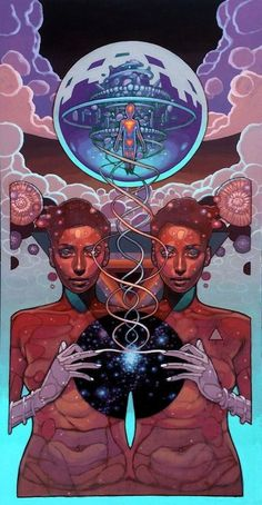 """joshuamaysart: 'Innerfusion,' 2015 One of the new works by Joshua Mays on exhibit in """"The Celestian Prophesy"""" at Oakland Terminal. Arte Peculiar, Psy Art, Science Fiction Art, Visionary Art, Psychedelic Art, Grafik Design, Sci Fi Art, Art Design, Art Plastique"""