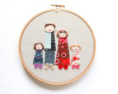 Custom family portrait of 4 - family photo embroidered and appliqued - made to order by dandelyne on Etsy, $90.00 AUD