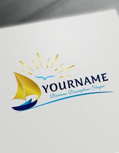 Creative boats logo New ideas Travel Agency Logo, Travel Logo, How To Make Logo, Create A Logo, Diving Logo, Logo Online, Photoshop Logo, Free Logo, Logo Maker