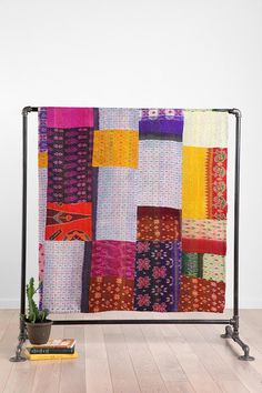 One-of-a-kind Silk Ikat Patchwork Tapestry