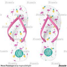 Neon Flamingos 2 Flip Flops