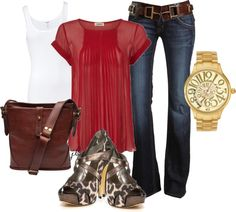 Red and Brown, created by jliz516 on Polyvore