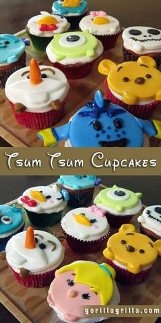 I'm a huge Disney fan, my kids are huge Disney fans, and my wife is a huge Disney fan, so when it comes to cupcakes, what else could we possibly want for a decoration?    These Disney Tsum Tsum inspired cupcakes are so adorable you'll want to eat them up! We started with our love for Disney Tsums and transformed it to edible cupcakes that your whole family will love. This is our first set of characters, but we are always working on more! Stop in, say hello, and see the whole gang!