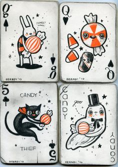 What a cool idea...designing my own deck of cards or little illustrations in the style of playing or tarot cards ................ Cards by Brandi Milne