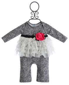 Peaches N' Cream Baby Girls Romper Leopard Print with Ruffles Fall 2013 Sweet Pea Collection